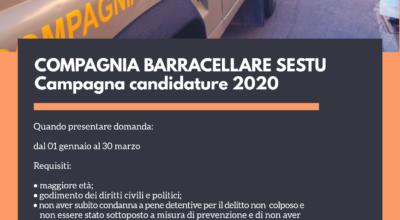 Compagnia Barracellare di Sestu: campagna candidature 2020